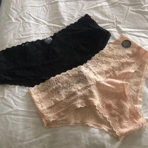Aerie Soft Pink & Black Cheeky Undies Set